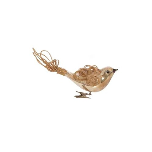 Clip on Glass Bird with Jute Wings